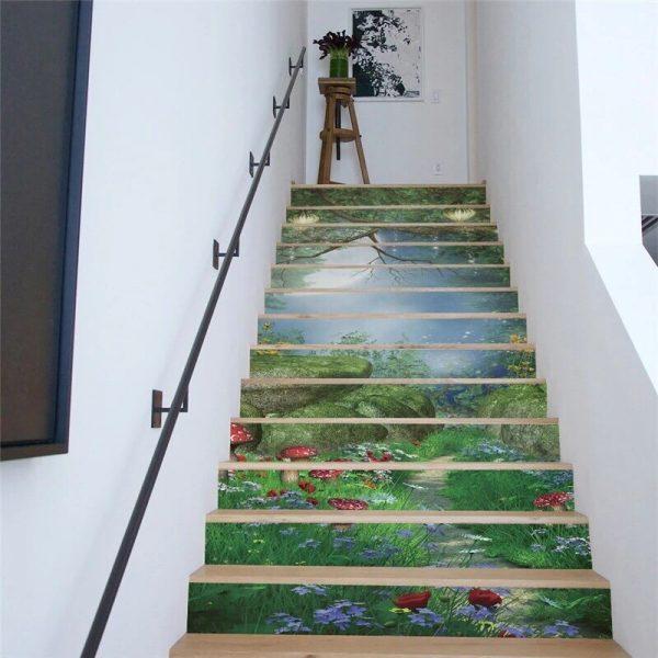Cầu thang kính tranh 3d